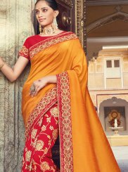 Orange and Red Weaving Raw Silk Traditional Designer Saree
