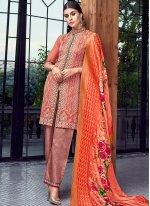 Orange and Rust Chanderi Designer Pakistani Suit