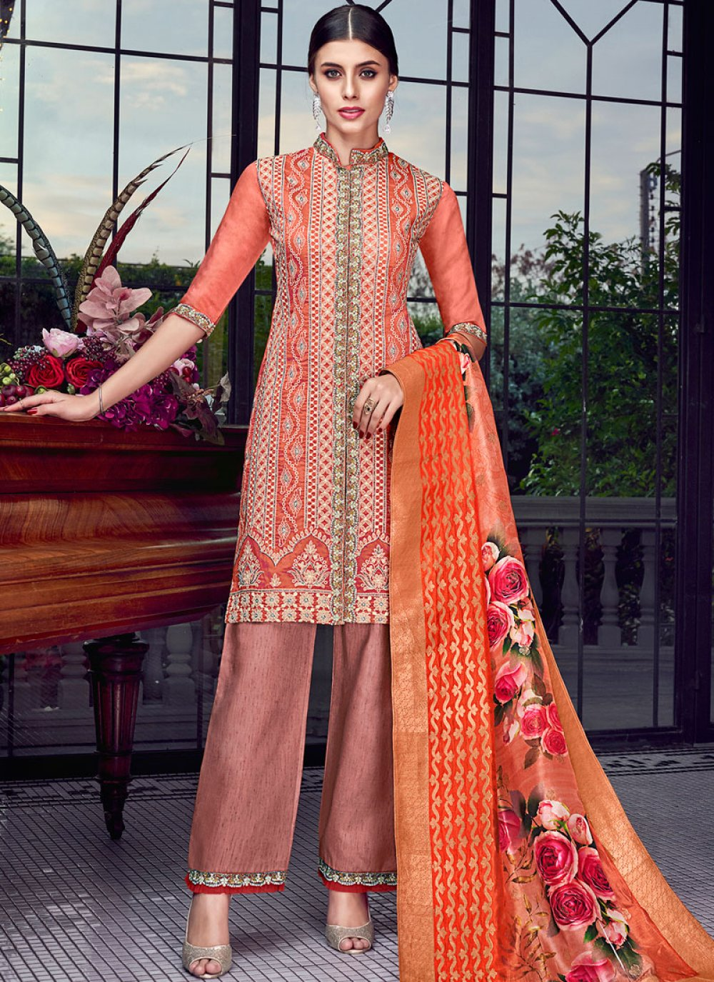 Orange and Rust Chanderi Designer Pakistani Suit