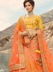 Orange and Yellow A Line Lehenga Choli