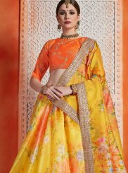 Orange and Yellow Organza Sequins Trendy Lehenga Choli