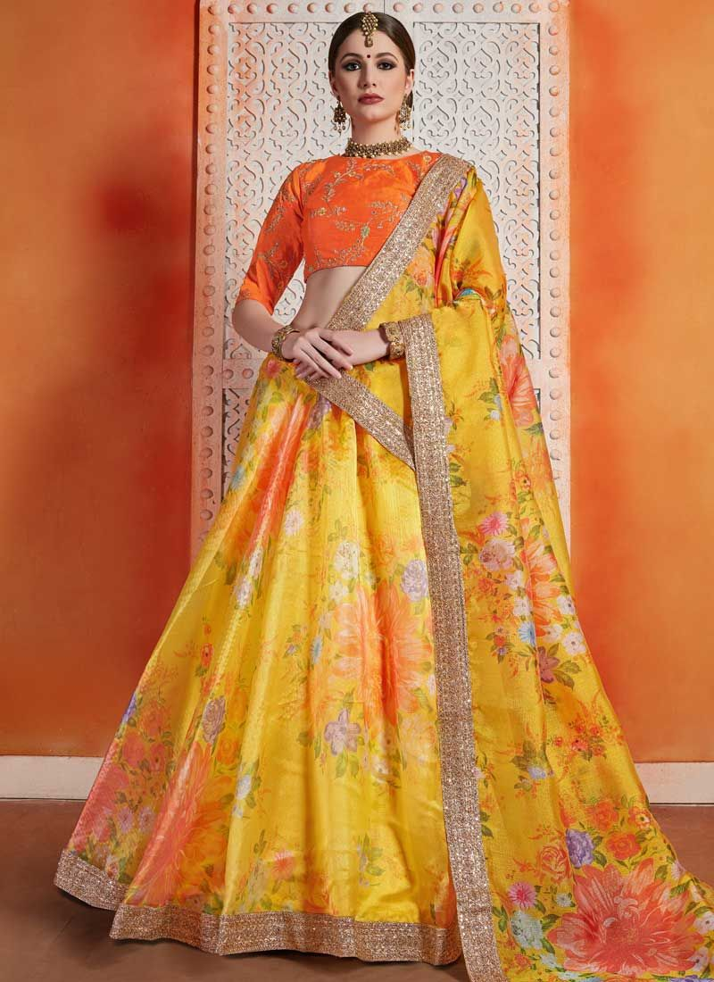 Orange and Yellow Organza Sequins Trendy Lehenga Choli