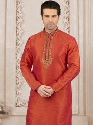 Orange Art Banarasi Silk Embroidered Kurta Pyjama