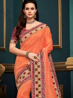 Orange Art Silk Bridal Traditional Designer Saree