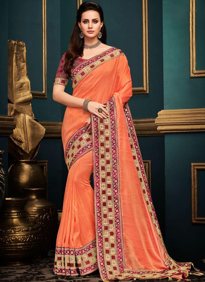 10c76e061501 Buy Online Orange Art Silk Bridal Traditional Designer Saree : 111471 -