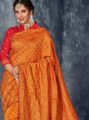 Orange Art Silk Ceremonial Designer Saree