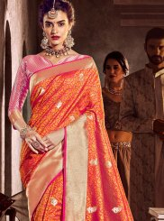 Orange Art Silk Classic Designer Saree