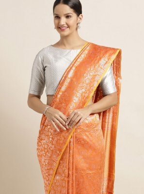 Orange Art Silk Classic Saree