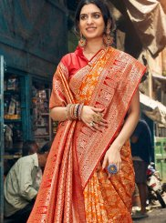 Orange Art Silk Classic Saree