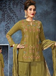 Orange Art Silk Designer Palazzo Salwar Suit