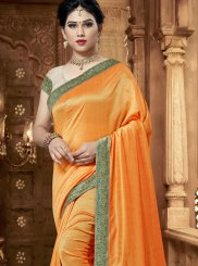 Orange Art Silk Designer Saree