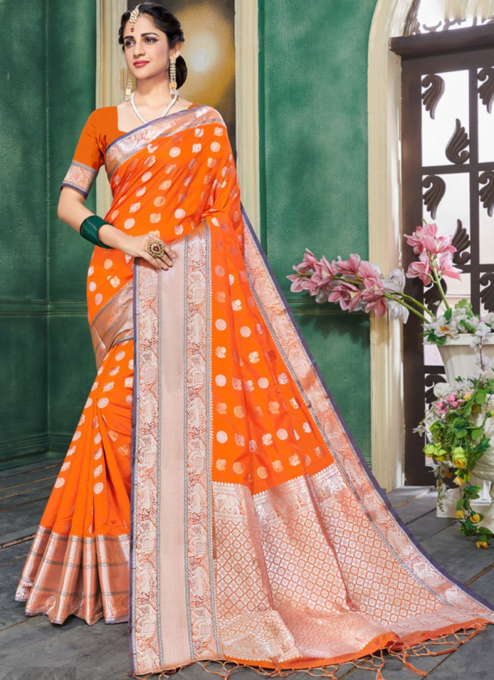 Orange Art Silk Designer Traditional Saree
