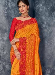 Orange Art Silk Embroidered Designer Saree