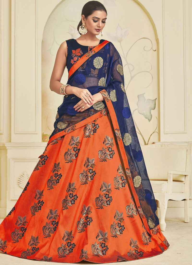Orange Art Silk Embroidered Trendy Designer Lehenga Choli