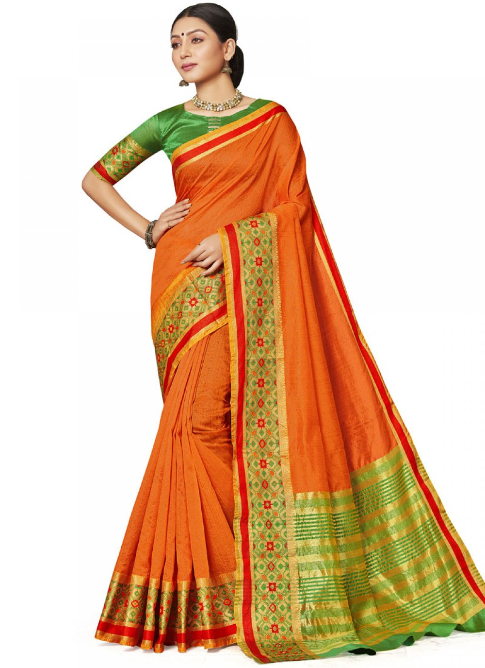 Orange Art Silk Festival Designer Saree