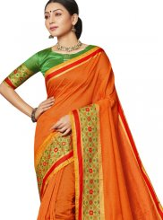 Orange Art Silk Festival Designer Saree