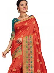 Orange Art Silk Festival Designer Traditional Saree