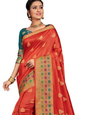 Orange Art Silk Festival Designer Traditional Saree
