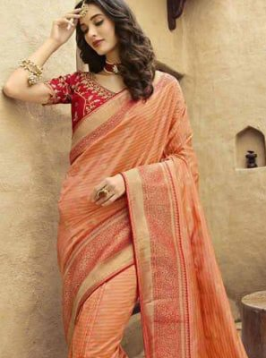 Orange Art Silk Festival Traditional Designer Saree