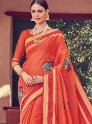 Orange Art Silk Print Traditional Saree