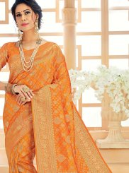 Orange Art Silk Sangeet Designer Saree