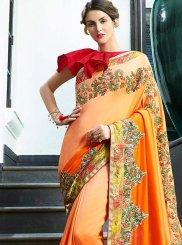 Orange Art Silk Shaded Saree