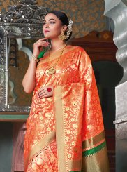 Orange Art Silk Weaving Designer Traditional Saree