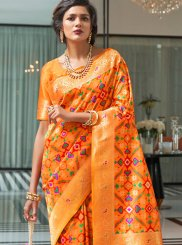 Orange Art Silk Weaving Traditional Designer Saree