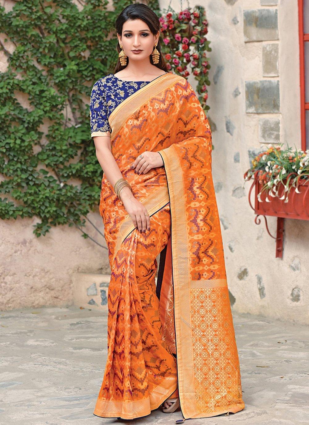 Orange Art Silk Weaving Traditional Saree