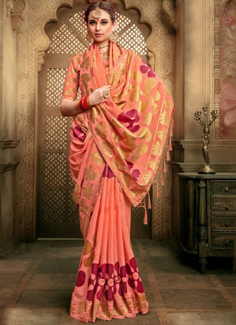 Orange Art Silk Wedding Designer Traditional Saree