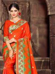 Orange Art Silk Woven Designer Traditional Saree