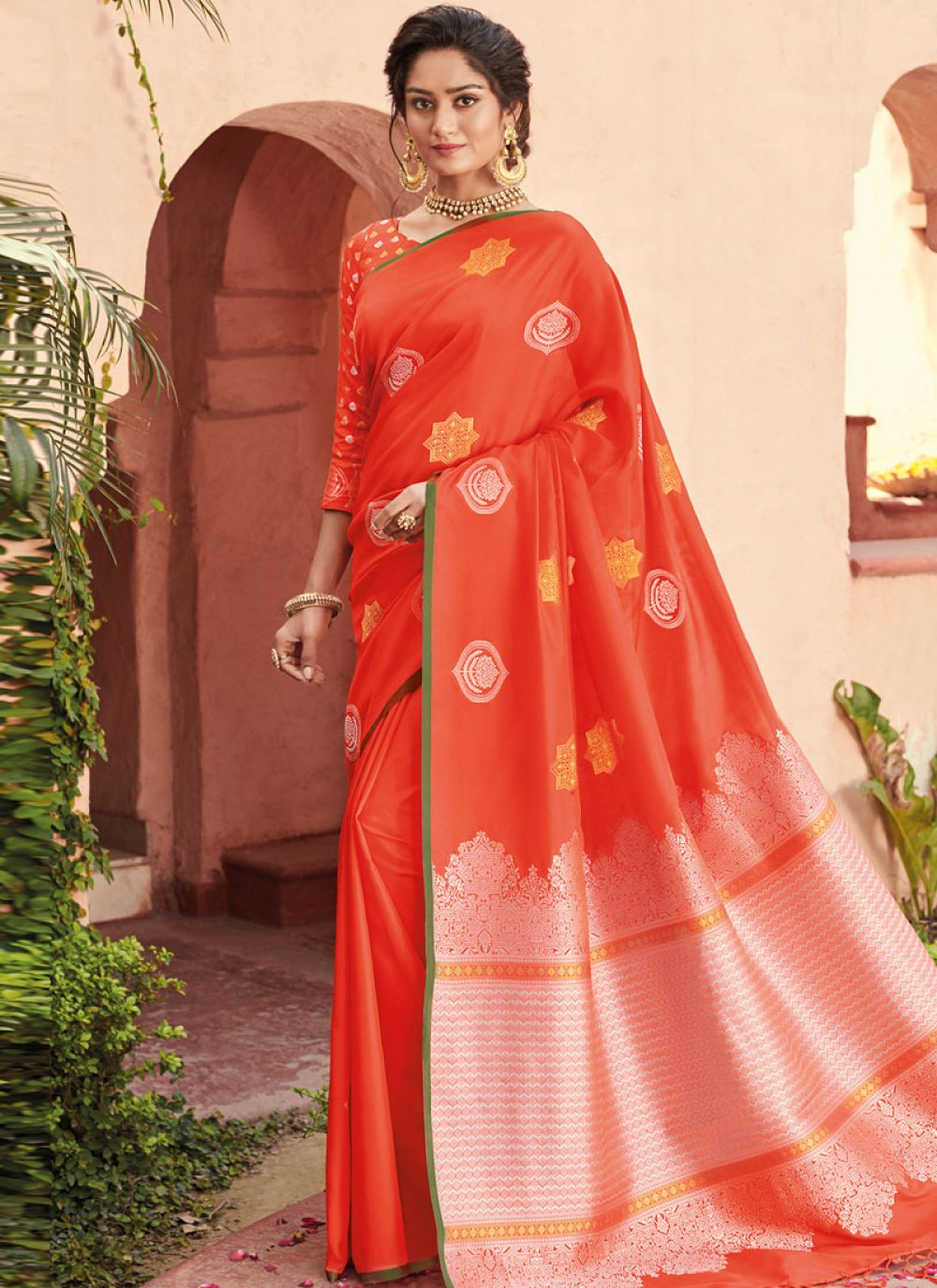 Orange Banarasi Silk Ceremonial Designer Saree