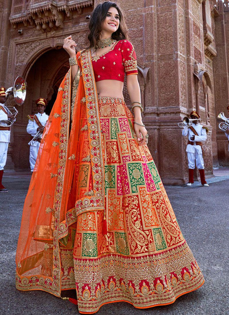 Orange Banarasi Silk Designer Lehenga Choli
