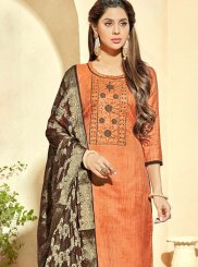 Orange Banarasi Silk Pant Style Suit