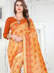 Orange Banarasi Silk Silk Saree