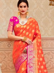 Orange Border Festival Classic Saree
