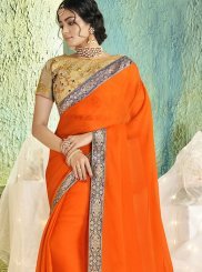 Orange Border Trendy Saree