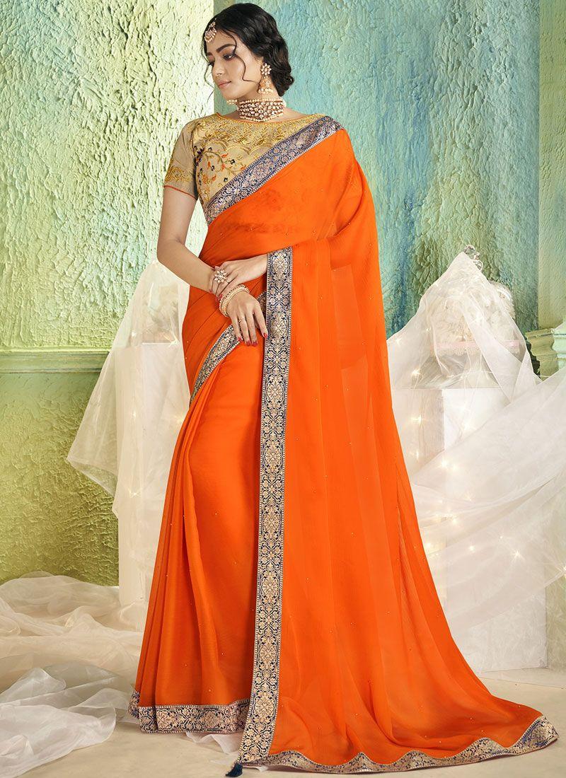 Orange Border Trendy Saree