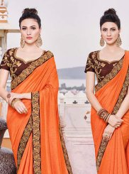 Orange Border Wedding Trendy Saree
