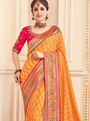 Orange Border Work Work Fancy Fabric Classic Saree