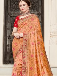 Orange Bridal Art Silk Traditional Designer Saree