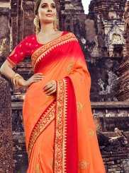 Orange Bridal Designer Traditional Saree