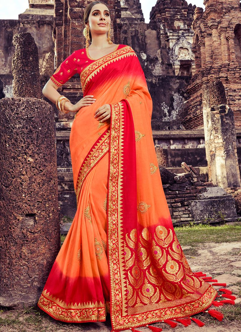 Orange Bridal Designer Traditional Saree