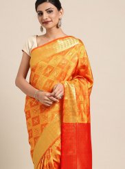Orange Casual Art Silk Classic Designer Saree