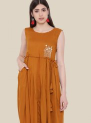 Orange Casual Casual Kurti