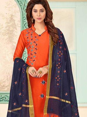 Orange Casual Churidar Designer Suit