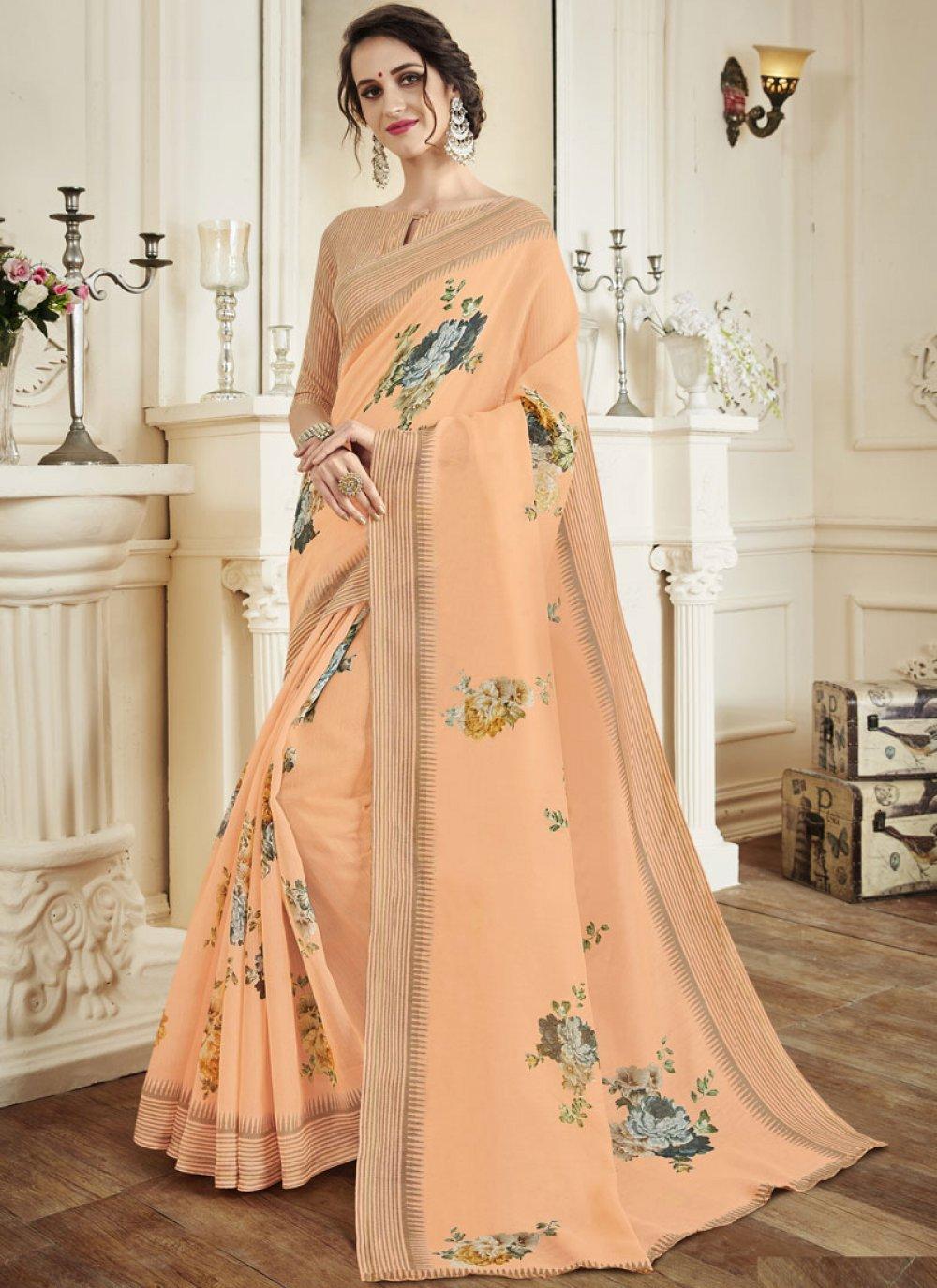 Orange Casual Classic Designer Saree