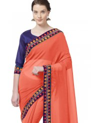 Orange Casual Faux Chiffon Printed Saree