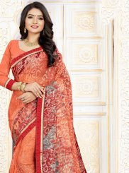 Orange Casual Printed Saree