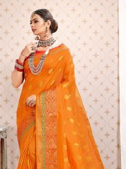 Orange Ceremonial Art Silk Traditional Designer Saree